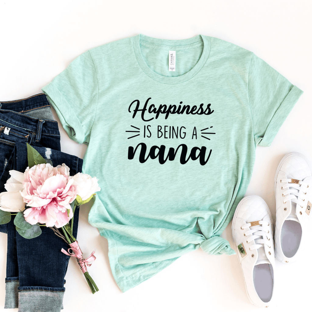 Happiness Is Being a Nana Shirt, Christmas Gift for Nana, Nana Gift, Grandma Shirt, Mothers Day, Grandparent Gifts. Mom Christmas Gift, Tee for Women, Mimi Shirt, Gigi Shirt, Nana Shirt, Grandma Shirt, Mothers Day shirt, Heather Prism Mint