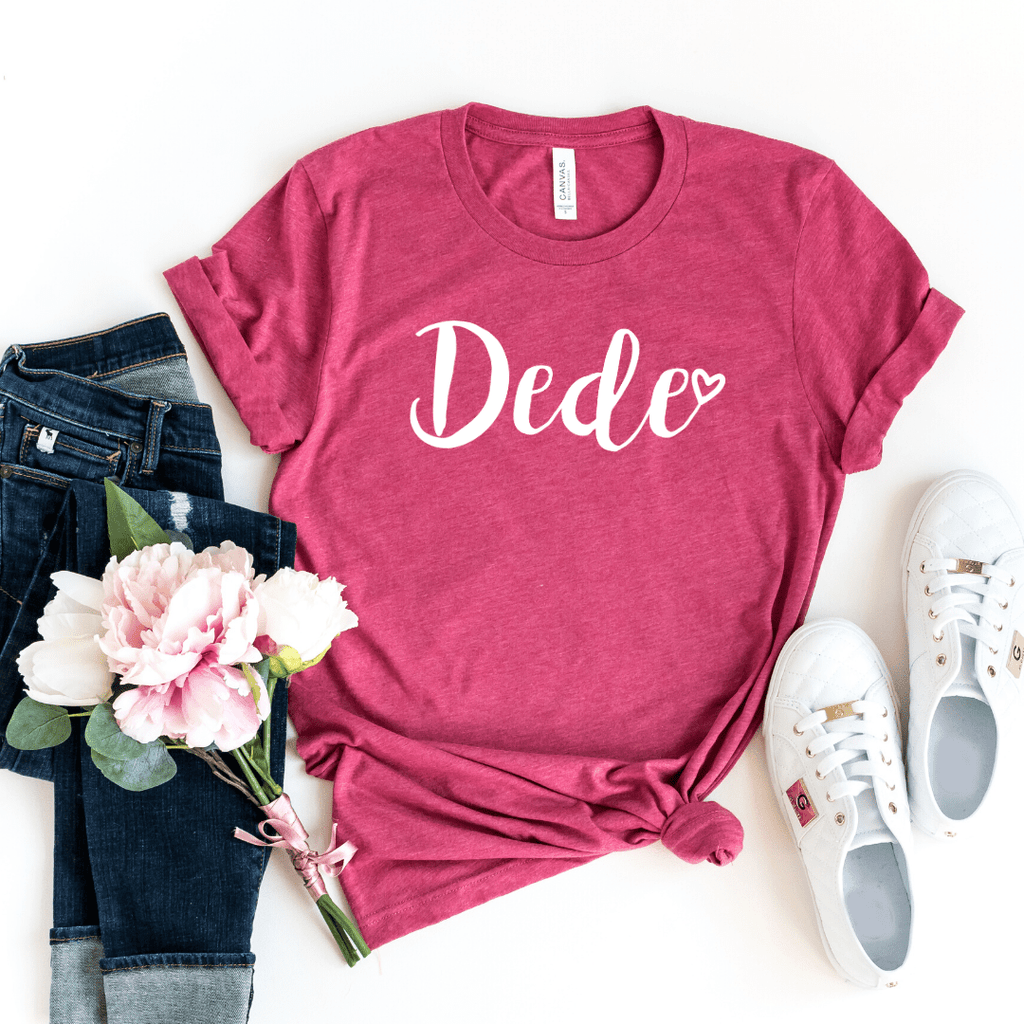 Dede Shirt, Dede Gift, Christmas Gift for Dede, Mothers Day Gift, Pregnancy Announcement Grandparents, Gift for Dede, Gigi Shirt, Grandma, Heather Raspberry