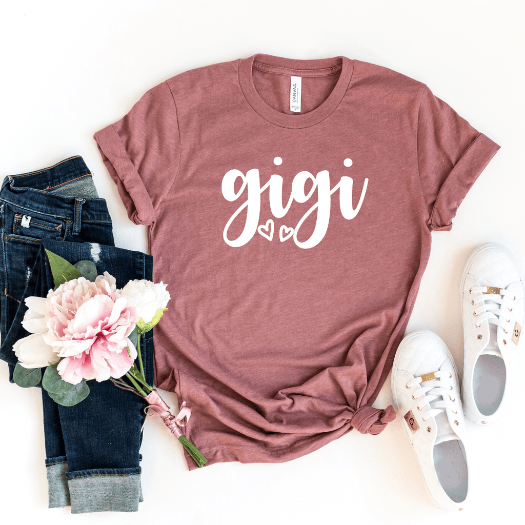 Gigi Shirt, Gigi T-Shirt, Gigi Tee, Cute Gigi Shirt, Gift for Gigi, Grandma Gift, Grandmother Shirt, Grandma Tee, Mimi Gigi Shirts, Grandma Tee, Pregnancy Announcement, Motherhood shirt, Mother's Day, Grandma Shirt, Mom Gift, Heather Mauve