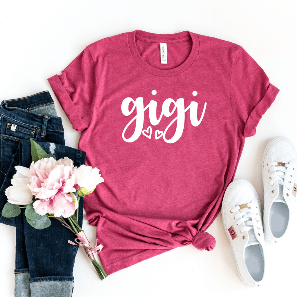 Gigi Shirt, Gigi T-Shirt, Gigi Tee, Cute Gigi Shirt, Gift for Gigi, Grandma Gift, Grandmother Shirt, Grandma Tee, Mimi Gigi Shirts, Grandma Tee, Pregnancy Announcement, Motherhood shirt, Mother's Day, Grandma Shirt, Mom Gift, Heather Raspberry