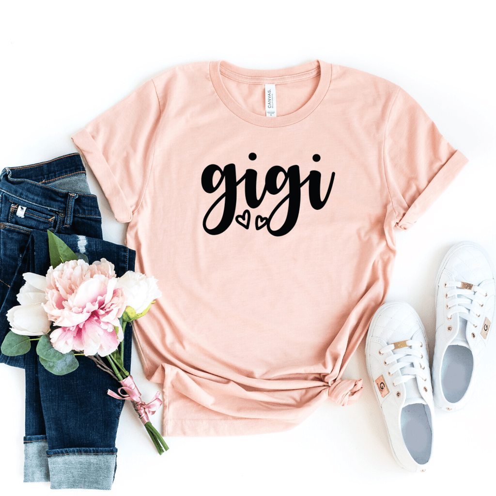 Gigi Shirt, Gigi T-Shirt, Gigi Tee, Cute Gigi Shirt, Gift for Gigi, Grandma Gift, Grandmother Shirt, Grandma Tee, Mimi Gigi Shirts, Grandma Tee, Pregnancy Announcement, Motherhood shirt, Mother's Day, Grandma Shirt, Mom Gift, Heather Peach