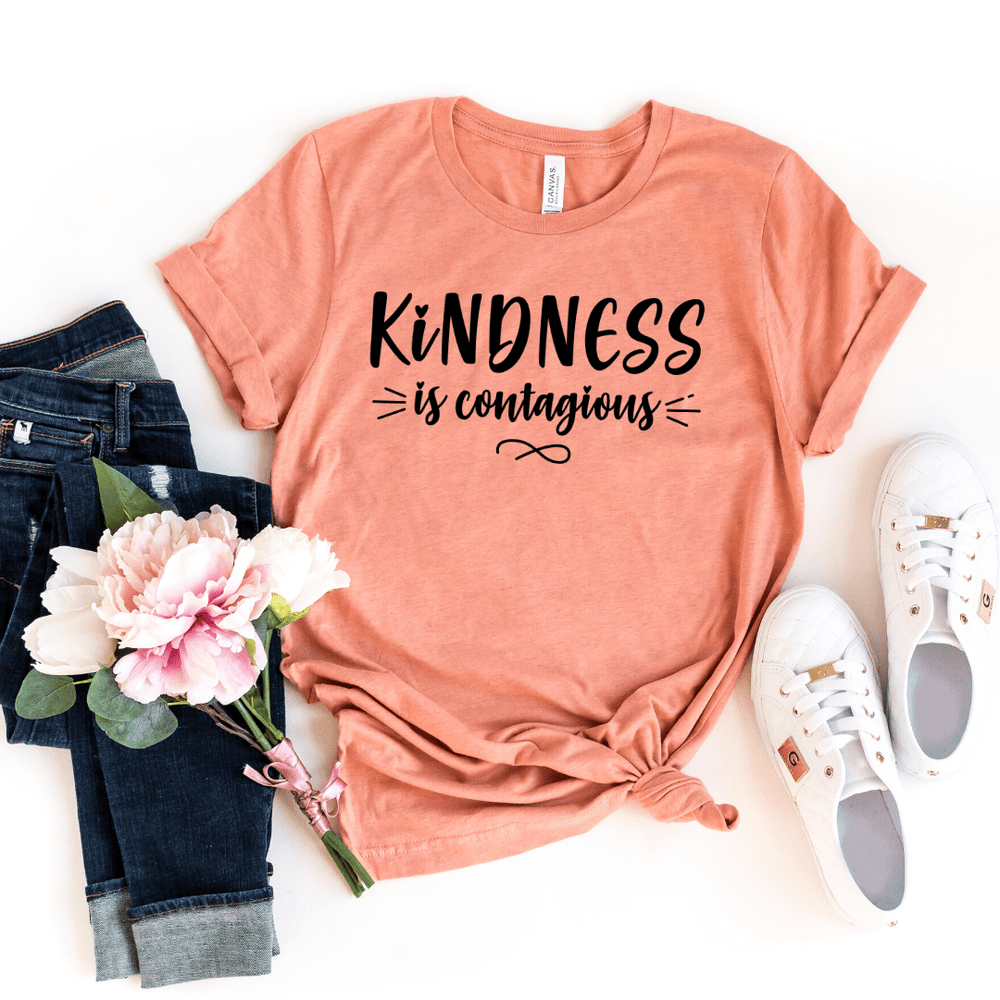 Kindness is Contagious Shirt, Kindness T-Shirt, Kind Shirt, Anti Bullying Shirt, Inspirational Shirt, Teacher Shirt, Motivational Shirt, Mother Day Shirt, Gift For Her, Gift for Mom, Mom shirt, Grandma Shirt, Heather Prism Sunset