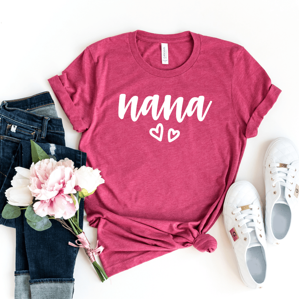 Nana Shirt, Nana T-Shirt, Nana Tee, Cute Nana Shirt, Gift for Nana, Grandma Gift, Grandmother Shirt, Grandma Tee, Mimi Gigi Shirts, Mother Day shirt, Heather Raspberry