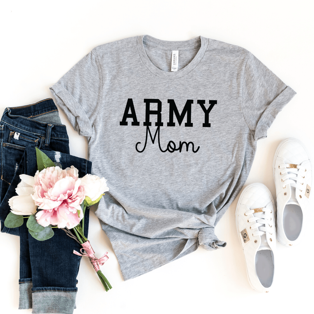 Army Mom Shirt, Military Mom Shirt, Mothers Day Gift, Army Mom Tee, Army Mom T-Shirt, Navy Mom Shirt, Marine Mom, Gift for Mom, Enlistment, Athletic Heather