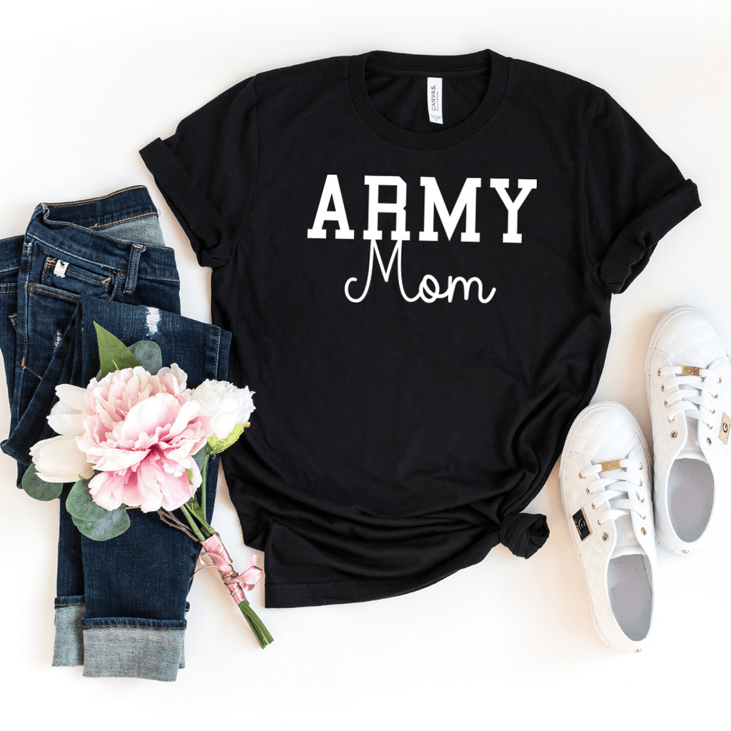 Army Mom Shirt, Military Mom Shirt, Mothers Day Gift, Army Mom Tee, Army Mom T-Shirt, Navy Mom Shirt, Marine Mom, Gift for Mom, Enlistment, Black