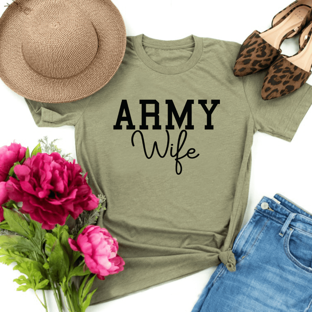 Army Wife Shirt, Military Wife Shirt, Mothers Day Gift, Army Wife Tee, Army Wifey T-Shirt, Navy Wife, Marine Wife, Heather Olive