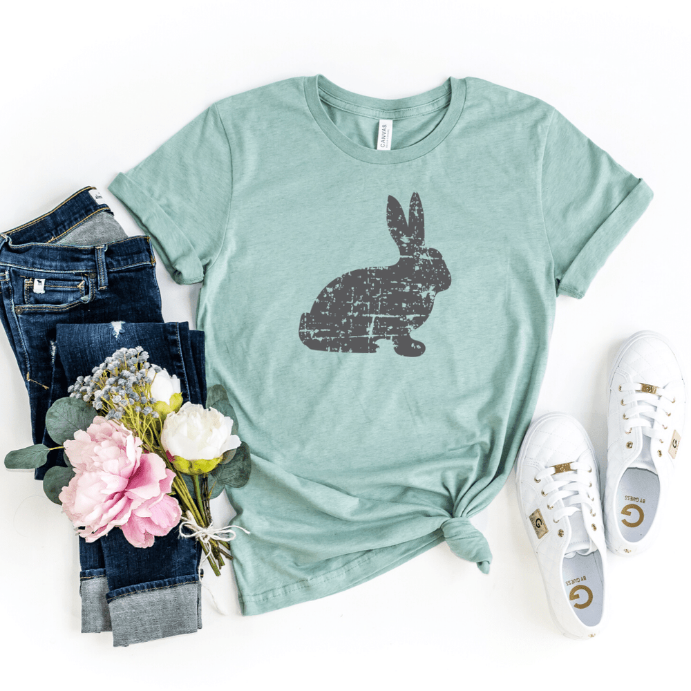 Distressed Bunny Shirt, Women's Easter Shirt, Easter Top, Ladies Easter Shirt, Easter Graphic Tee, Heather Prism Dusty Blue