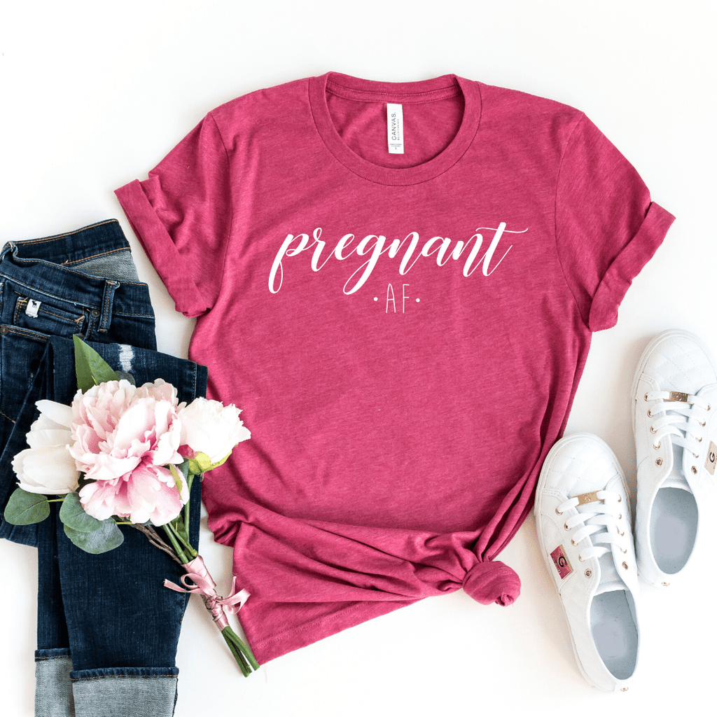 Pregnant AF Shirt for Women, Maternity Shirt, Pregnancy Announcement Shirt, Mom Shirt, Preggers Top, Funny Pregnancy, Motherhood