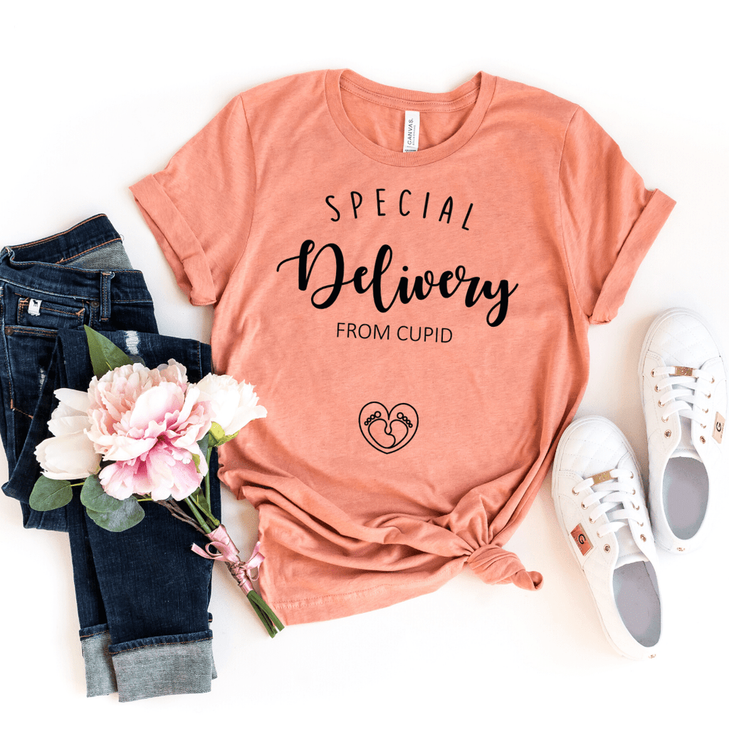 Pregnancy announcement Shirt, Special Delivery from Cupid, You can call me Cupid, Mom Shirt, Baby Shower, Maternity Shirts, Funny Pregnancy, Preggers Top, Gift for Her, Pregnancy Gift, Motherhood, Heather Prism Sunset