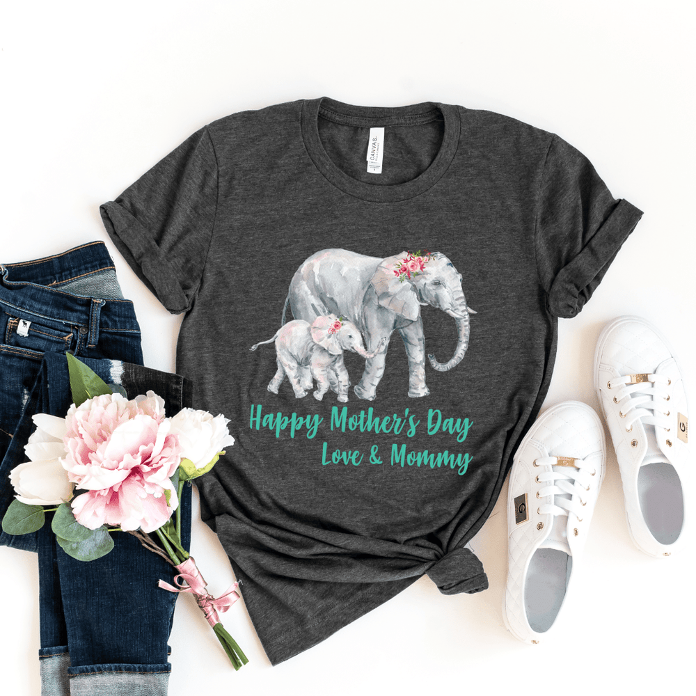 Our First Mothers Day Shirts, Mommy & Me T-Shirts, Matching Mom and Baby Bodysuit, Mother Day Shirt, Baby and Mama Elephant, Mommy and Me Shirt Set Mama Elephant Baby Shirts Mother and Daughter Shirts,  Mothers Day Gift Mommy and Me Outfits, Dark Gray Heather