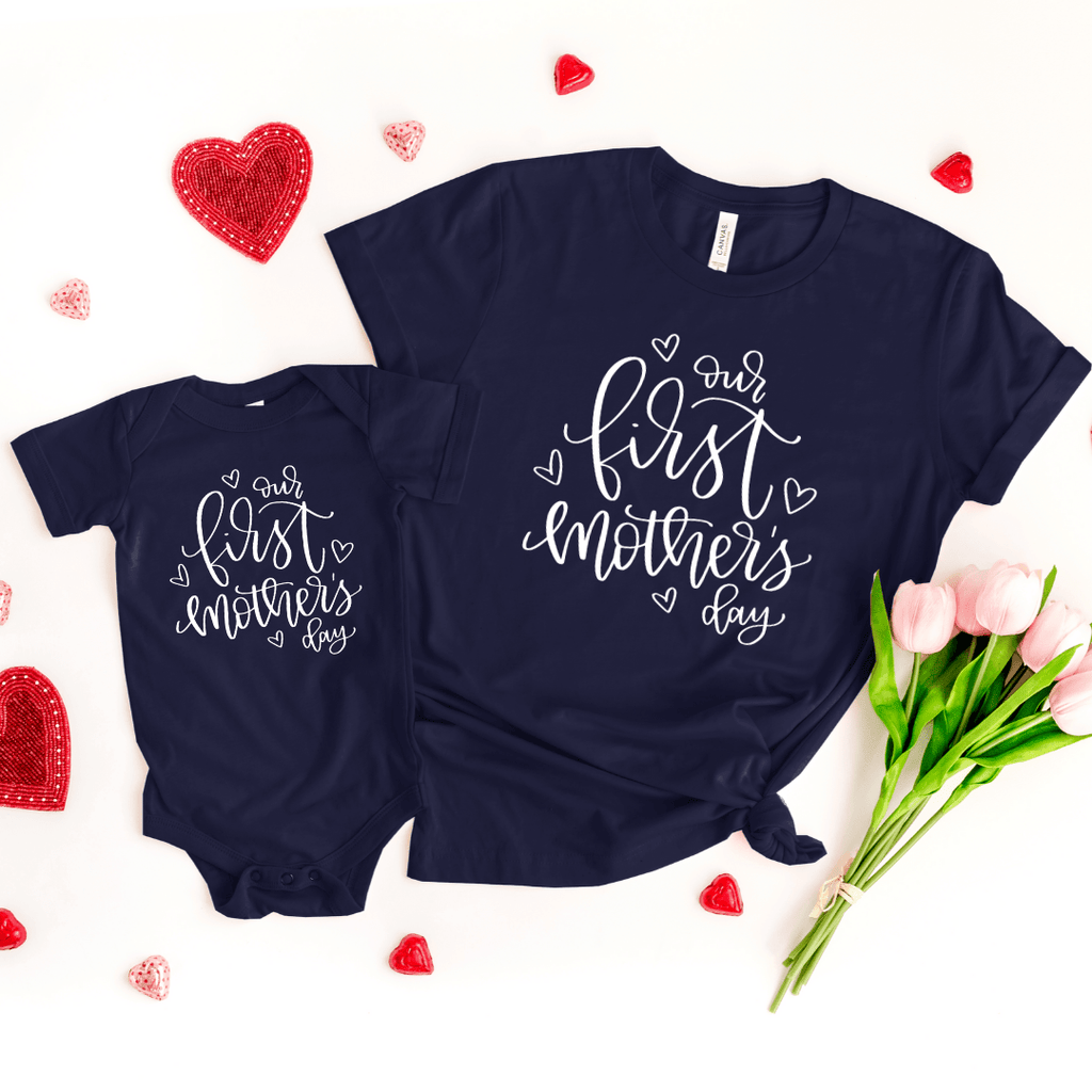 Mother's day gift for wife Mom, Our first mothers day, First mothers day gift, matching mom and baby, family shirts, Mothers day 2020, Navy