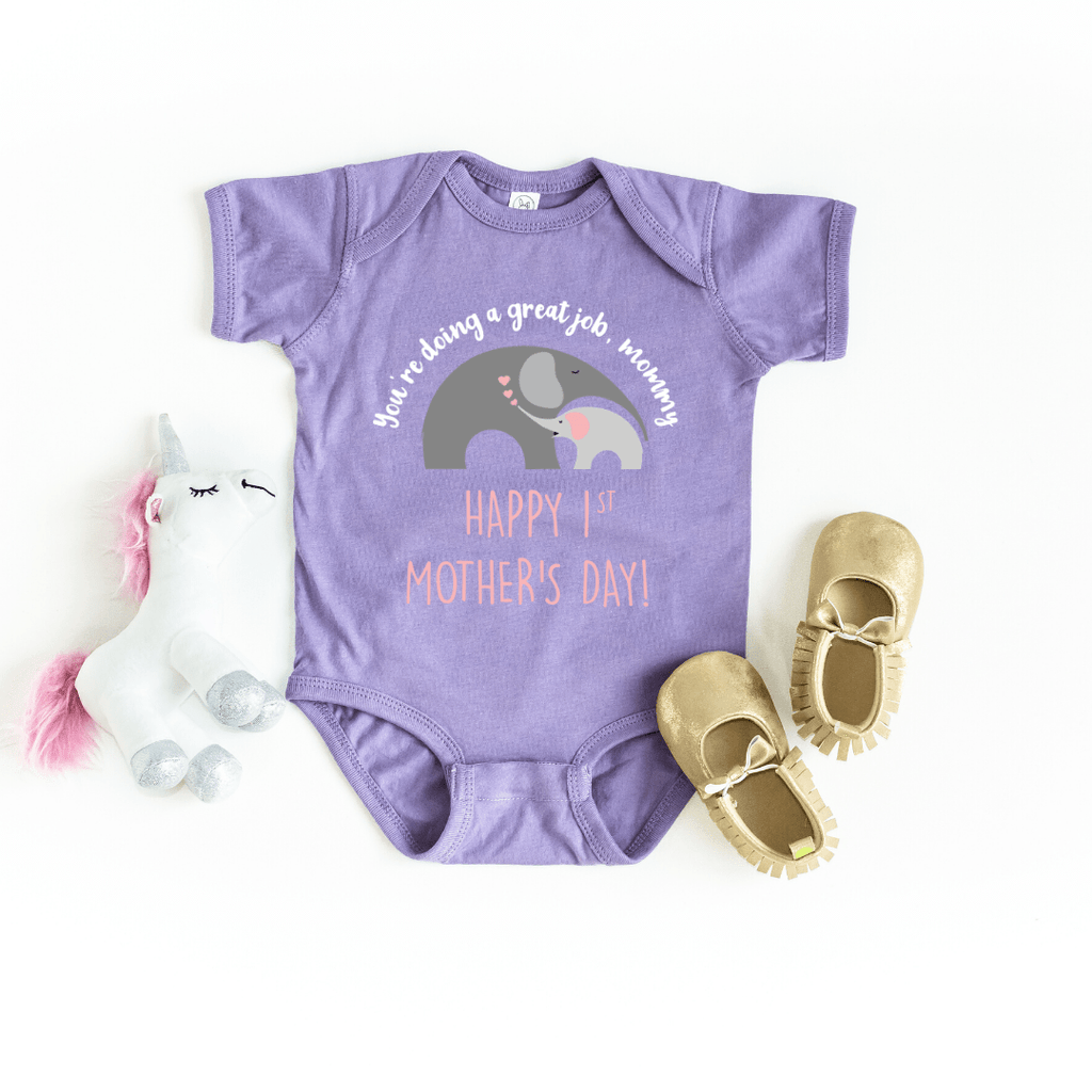 Our First Mother's Day baby bodysuit, Cute Personalized Mother's Day baby bodysuit, Elephant Baby Mother baby bodysuit, Happy Mothers Day baby bodysuit, Best Mama shirt, Lavender