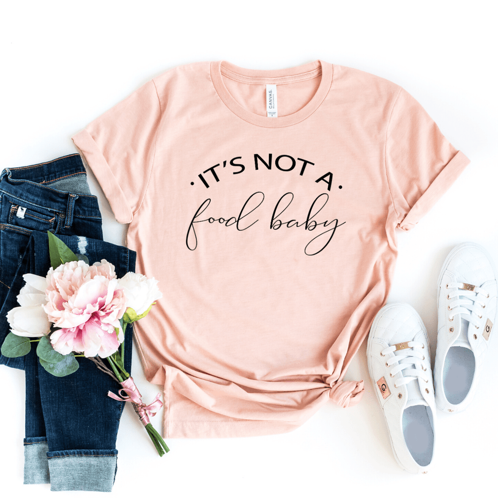 Pregnancy Announcement Shirt, It's Not a Food Baby, Pregnant Shirt, Pregnancy Reveal Shirt, New Mom Shirt, Pregnant AF, Expecting Shirt, Pregnancy Announcment Shirt, Maternity shirt funny, Heather Peach