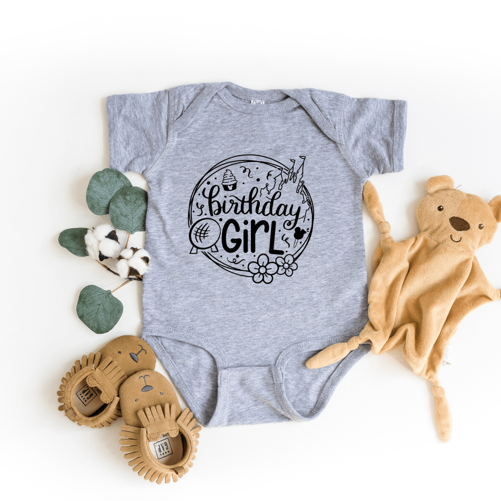 Birthday Girl Disney Shirt, Disney Birthday Shirt, Toddler Shirt & Baby Bodysuit, birthday shirts girl, birthday squad shirts, Light Gray