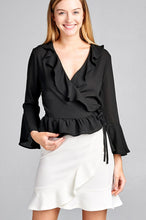 Load image into Gallery viewer, Ladies fashion 3/4 bell sleeve wrap w/ruffle side tie closure flare bottom wool dobby woven top