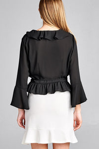 Ladies fashion 3/4 bell sleeve wrap w/ruffle side tie closure flare bottom wool dobby woven top
