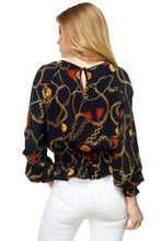 Load image into Gallery viewer, Long Sleeve Baroque & Chain Print Top