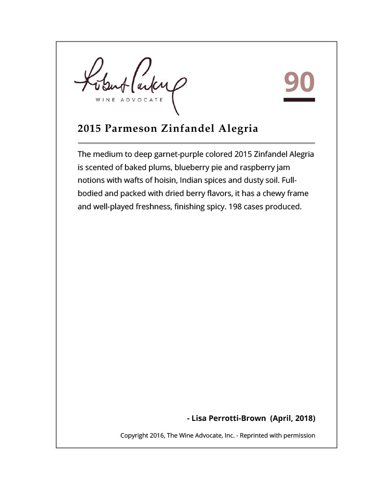 2015 Zinfandel | Russian River Valley | Alegría Vineyard