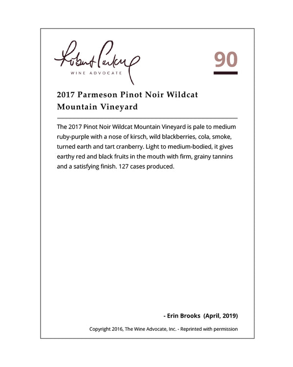 2017 Pinot Noir | Sonoma Coast | Wildcat Mountain Vineyard