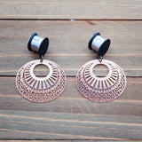 Rose Gold Stamped Metal Creole and Black Blank Dangle Gauges 4g, 2g, 0g, 00g, 7/16, 1/2, 9/16, 5/8, 3/4
