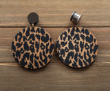 Vintage Brass and Leopard Wood Circle Dangle Plugs 4g, 2g, 0g, 00g, 7/16, 1/2, 9/16, 5/8, 3/4