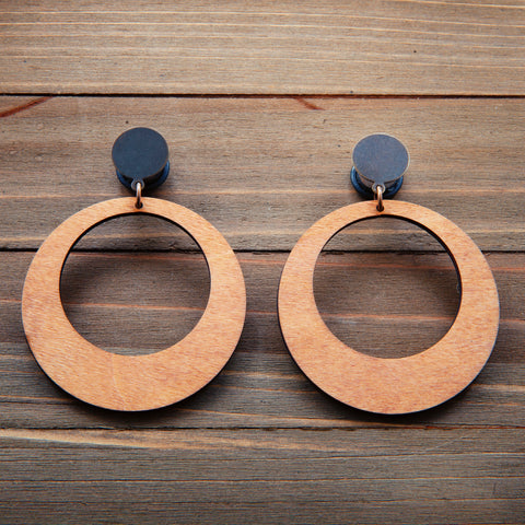 Tan Wood Hoops Plug Gauges 20g 4g, 2g, 0g, 00g, 7/16, 1/2, 9/16, 5/8, 3/4
