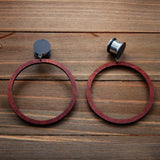 Large Coffee Wood Hoop Dangle Gauges 4g, 2g, 0g, 00g, 7/16, 1/2, 9/16, 5/8, 3/4