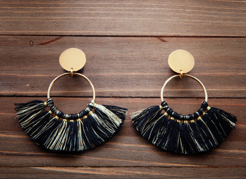 Multi Black and Gold Fringe With Gold Hoop Dangle Plug Gauges  4g, 2g, 0g, 00g, 7/16, 1/2, 9/16, 5/8, 3/4