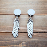 Silver Feather Dangle Plug Gauges 4g, 2g, 0g, 00g, 7/16, 1/2, 9/16, 5/8, 3/4