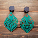 Teal Cutout Fans Plugs Gauges  4g, 2g, 0g, 00g, 7/16, 1/2, 9/16. 5/8, 3/4