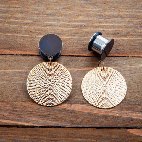 Small Brass Textured Circles Dangle Gauges 4g, 2g, 0g, 00g, 7/16, 1/2, 9/16, 5/8, 3/4