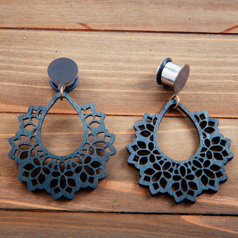 Black Wood Lace Dangle Gauges 4g, 2g, 0g, 00g, 7/16, 1/2, 9/16, 5/8, 3/4