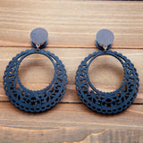 Black Wood Laser Cut Hoop Shape Plug Gauges 20g 4g, 2g, 0g, 00g, 7/16, 1/2, 9/16, 5/8, 3/4