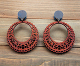 Coffee Wood Circle Lace Cutout Dangle Plug Gauges 20g 4g, 2g, 0g, 00g, 7/16, 1/2, 9/16, 5/8, 3/4