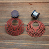 Vintage Brass and Copper Round Stamped Metal Dangle Plugs Gauges  4g, 2g, 0g, 00g, 7/16, 1/2, 9/16, 5/8, 3/4