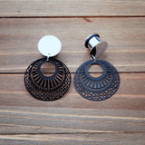 Silver and Black Round Cutout Stamped Metal Dangle Plug Gauges 4g, 2g, 0g, 00g, 7/16, 1/2, 9/16, 5/8. 3/4