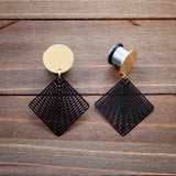 Black Stamped Metal Cutout Square Dangle Plug Gauges  4g, 2g, 0g, 00g, 7/16, 1/2, 9/16, 5/8, 3/4
