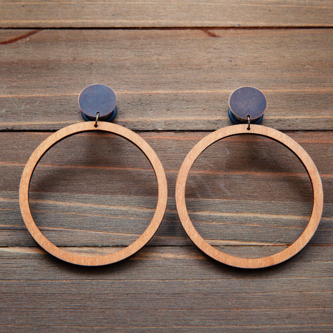 Large Tan Wood Hoop Dangle Gauges 4g, 2g, 0g, 00g, 7/16, 1/2, 9/16, 5/8, 3/4