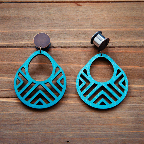 Aqua Blue Wood Geo Dangle Plugs