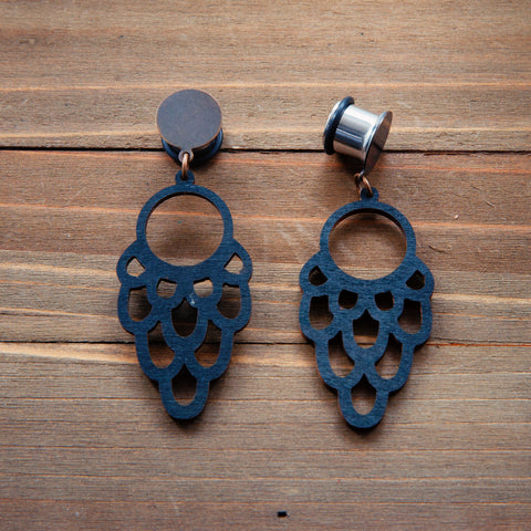 Black Wood Laser Cut Phoenix Dangle Plug Gauges 20g, 4g, 2g, 0g, 00g, 7/16, 1/2, 9/16, 5/8, 3/4