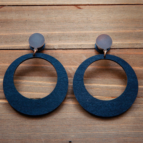 Black Wood Hoops Plug Gauges 20g 4g, 2g, 0g, 00g, 7/16, 1/2, 9/16, 5/8, 3/4