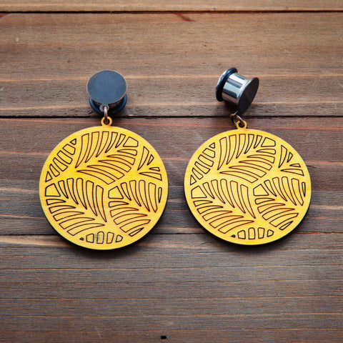 Yellow Wood Circle Leaf Dangle Plug Gauges 20g 4g, 2g, 0g, 00g, 7/16, 1/2, 9/16, 5/8, 3/4