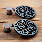 Black Laser Cut Circles Plug Gauges 20g 4g, 2g, 0g, 00g, 7/16, 1/2, 9/16, 5/8, 3/4