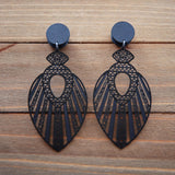 Black Boho Stamped Metal Dangle Gauges 4g, 2g, 0g, 00g, 7/16, 1/2, 9/16, 5/8, 3/4