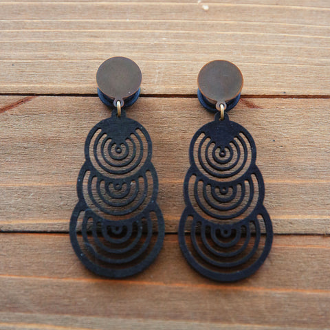 Black Wood Triple Circles Dangle Plug Gauges 20g, 4g, 2g, 0g, 00g, 7/16, 1/2, 9/16, 5/8, 3/4