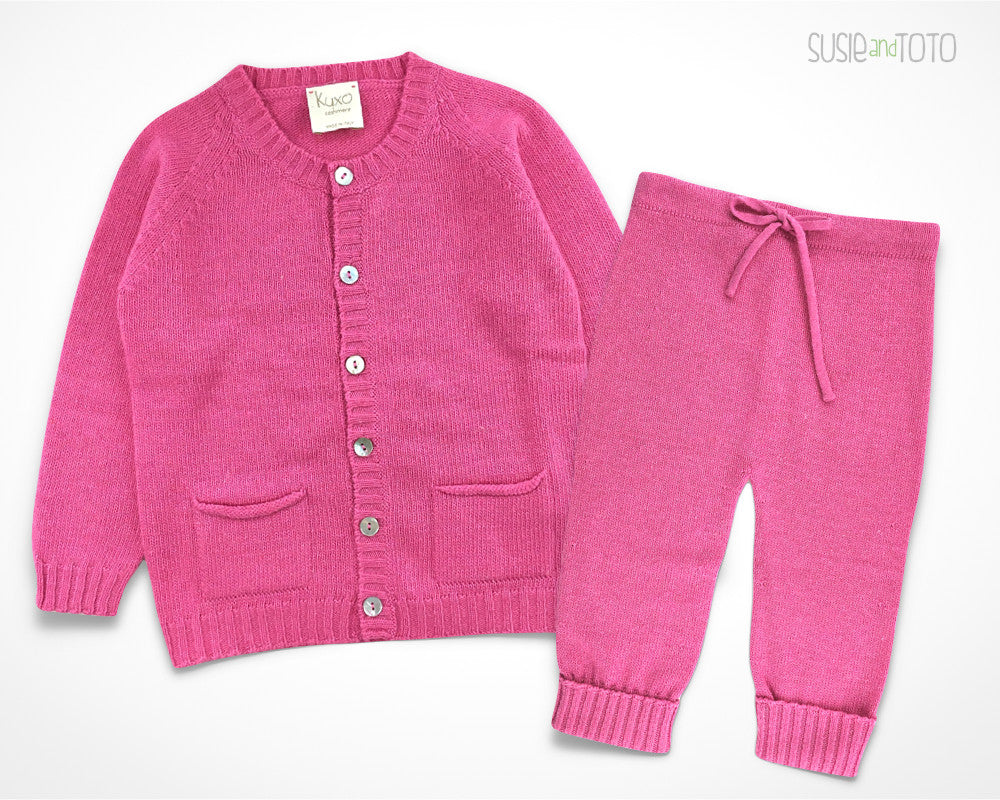 Susie and Toto - Baby Cashmere Set - Mela (Hot Pink)