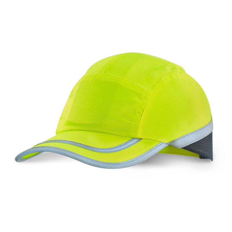 Hi Vis Safety Baseball Cap with Retro Reflective Tape - Yellow