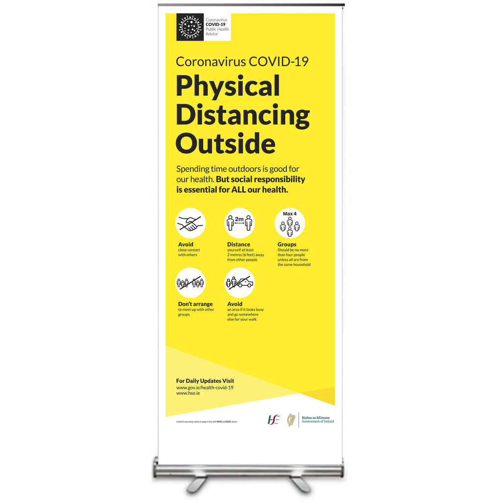 Covid-19 <strong>HSE Government Approved</strong> Pull Up Banner