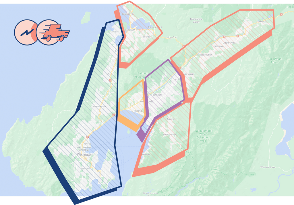 a map of the wider wellington region with yum jar delivery zones highlighted
