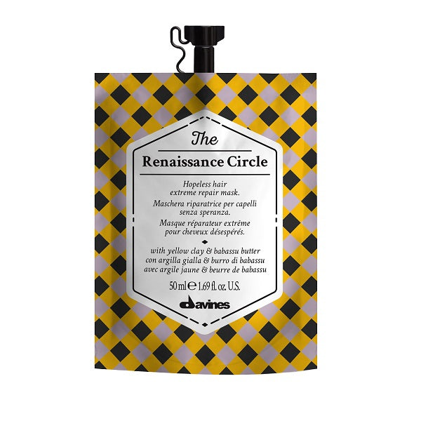 50ml Davines The Renaissance Circle Mask is a deeply repairing mask that rescues very damaged hair. Hair looks restored with renewed shine, nourishment and softness.